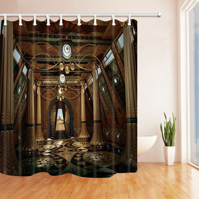 Ancient Egyptian temple Shower Curtain Bathroom Polyester & 12hooks 71*71inches