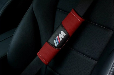 New 2PCS Red Leather Car Seat Belt Cover Shoulder Pad Fit For BMW M
