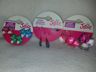 NWT Girl's Justice Earrings Lot of 3 Packs 9 Total Pair Cute Accessories Owls