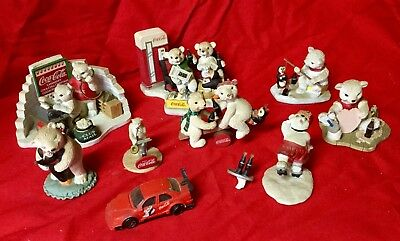 Lot Of 9 Coca-Cola Collectibles 6 Polar Bear Cubs Collection Figurines And 1 Car