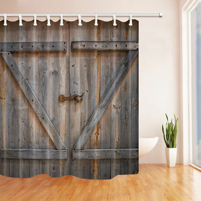 Rural Barn Door Shower Curtain Polyester Bathroom Decor 12hooks 7171inches