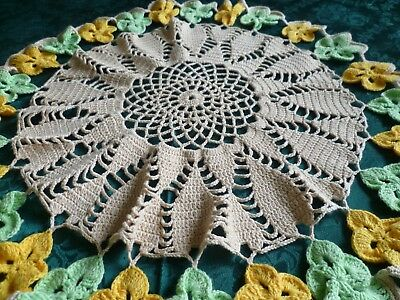 VINTAGE HAND CROCHETED YELLOW AND GREEN PANSY CREAM CENTRE TABLE CENTRE 56cms