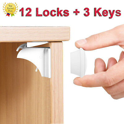 Baby & Child Proof Cabinet & Drawers Magnetic Safety Locks Set of 12 with 3 Keys