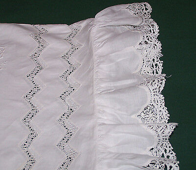 RARE ANTIQUE PILLOW SHAM, BOLSTER, NEEDLE LACE, RUFFLES, MUSEUM QUAILITY, c1900