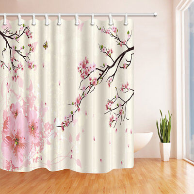 Japan Pink Cherry Blossom Shower Curtain Polyester Bathroom 12hooks 7171inch