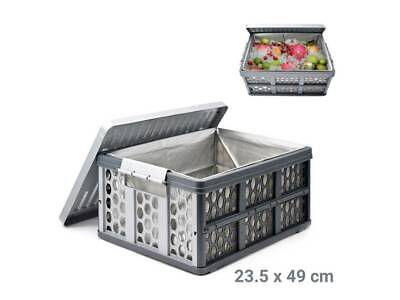 Folding Car Boot Storage Container Rigid Box Crate Lid & Liner Insulated Thermal