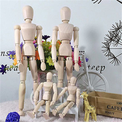 "4.5"" 8"" 12"" Wooden Human Figure Manikin Artist Draw Painting Model Jointed Doll"