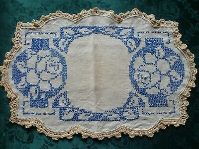 Vintage Large Doiley With Blue Cross Stitch Rose Design And Cream Crocheted Edge