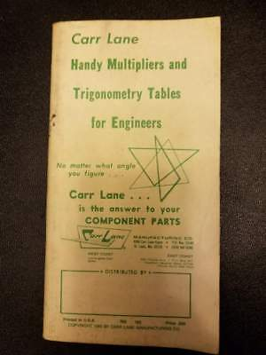 Carr Lane Trigonometry Tables & Handy References For Engineers Trig Book 1985