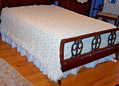 "VINTAGE HAND CROCHETED BEDSPREAD, COVERLET, STAR DESIGN, FRINGE, 82"" WIDE, c1930"