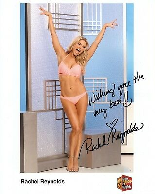 RACHEL REYNOLDS HAND SIGNED 8x10 COLOR PHOTO   SEXY PINK BIKINI   PRICE IS RIGHT