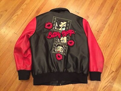 Betty Boop Vintage Excelled Leather Zip Front Jacket Sz. L