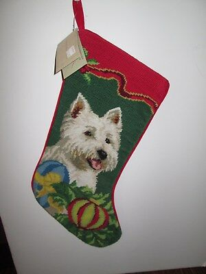 Westie Westland Highland Terrier Ornament Dog Needlepoint Christmas Stocking NWT