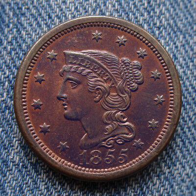 1855 Braided Hair Large Cent - Slanted 55 ** Amazing! ** Check out the Photos