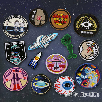 Alien Space Embroidery Sew On Iron On Patch Badge Fabric Applique Craft Transfer