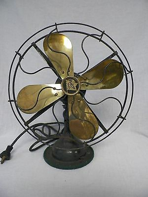 "Working Old Vtg Robbins & Myers Brass 4 Blade 12"" Oscilating Electric Fan 4504"