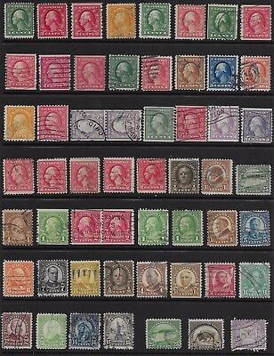 Collection of 53 US used early 20th Century; Lot U268я1; Retail Value $158.80