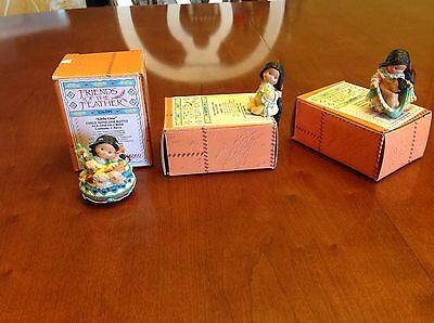 3 - ENESCO 'FRIENDS OF A FEATHER' Mini Figurines Girl w Baby; Washing Hair; Baby