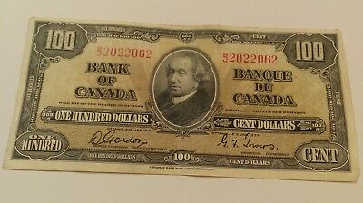 1937 Canada $100  Dollars  Bank of Canada Note. Gordon/Towers.BJ2022062