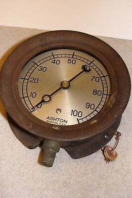 ANTIQUE Ashton Valve Pressure STEAM Gauge BOSTON METER OLD VINTAGE STEAMPUNK