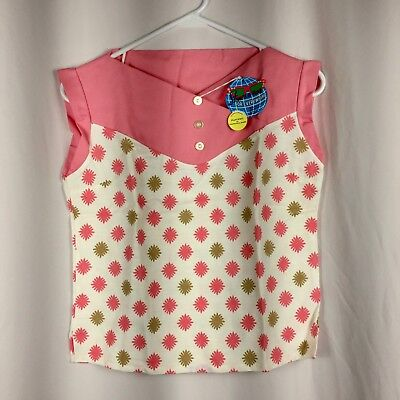 Vintage 1950's New With Tags Atomic Starburst Novelty Print 100% Cotton Blouse S