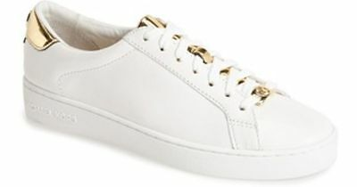 Women's 10 US Sneakers MICHAEL KORS Irving Lace Up Leather White Optic Gold New