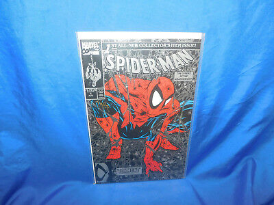 Marvel Spider-Man #1 Silver Variant Signed by Todd Mcfarlane (With Web Stamp)