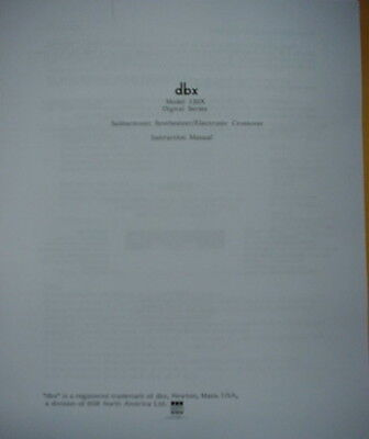 dbx 120X-DS SUBHARMONIC SYNTHESIZER OWNERS MANUAL 9 Pages