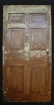 "37""x77"" Antique Vintage Solid Wood Wooden Colonial Door 6 Raised Panel Hardware"