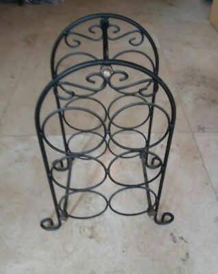 Wine rack for 6 bottles metal wrought iron style vintage