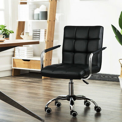 Adjustable Swivel Home Office Study Chair Gas Lift Executive PU Leather Black