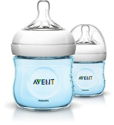 Philips Avent Natural Baby Feeding Bottle Blue 125Ml  2 Pack England Bpa Free
