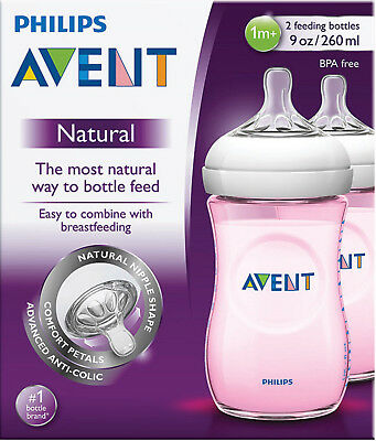 Philips Avent Natural Feeding Pink Baby Bottle 260Ml 2 Pack Made In England Easy