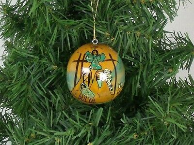 HAND PAINTED GOURD ORNAMENT Signed Christmas  NATIVITY