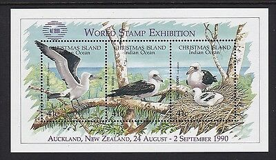 1990 Christmas Island Abbott's Booby Mini Sheet Overprinted Nz 1990