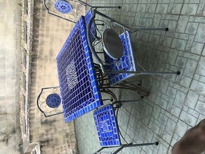 Mosaic Tile & Cast Iron Used Patio Table & Chairs