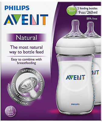 Philips Avent® Natural Baby Bottle 260Ml 2Pk Made In England Bpa Free Easy To C