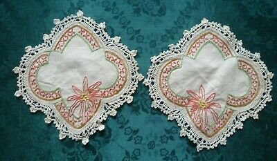 Pair Hand Embroidered Poinsettia Small Doileys With Cream Hand Crocheted Edge
