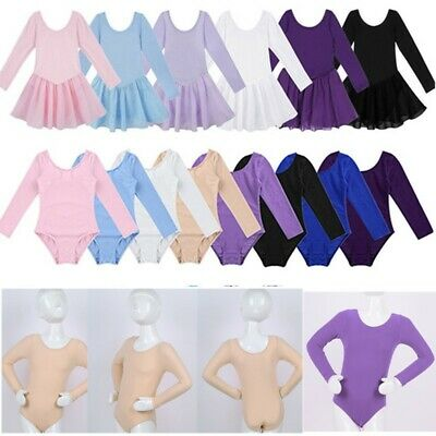 Ballet Girls' Leotard Tutu Dress Dancewear Kids Gymnastics Long Sleeve Costume
