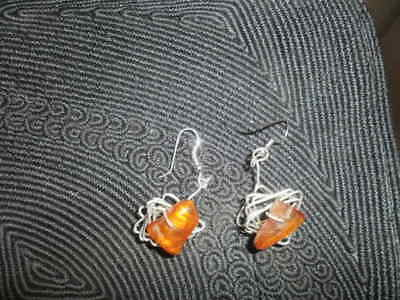 Amber Pebbles Natural Polished Earrings Pierced