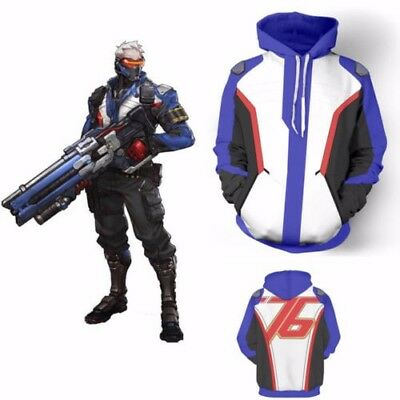 Overwatch OW SOLDIER:76 Hoodies Cosplay Jacket Coats Christmas Party Costume USA