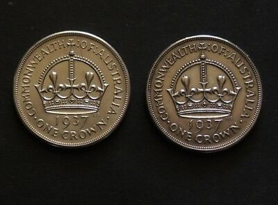 1937 Crowns Two Coins Free Registered Post.
