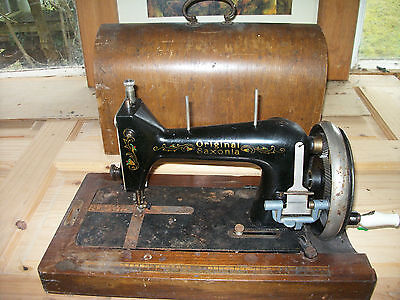 Antique Old Sewing Machine Original Saxonia With Wood Case