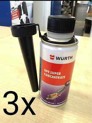 3x NEW GENUINE WURTH DPF SUPER CONCENTRATE CLEANER FUEL ADDITIVE 150ML