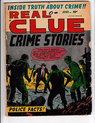 REAL CLUE CRIME STORIES Vol.6 #4 (GD-) Classic Golden-Age Comic 1951 Hillman