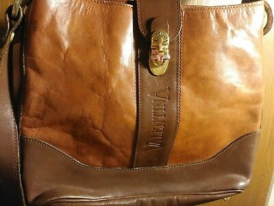 Valentina Vintage Leather Handbag Purse Made In Italy Brown Good Cond Large