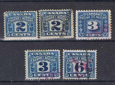 Canada 1915 Excise stamps selection to 6 cents Used