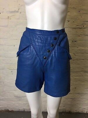 Vintage Retro High Waisted Blue 80s Leather Shorts