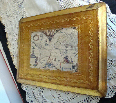 Vintage Italian Florentine Plaque Gold Gilt Wood Old Map Made in Italy