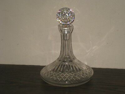 Vintage Cut Crystal Glass Ships Liquor Decanter with Stopper